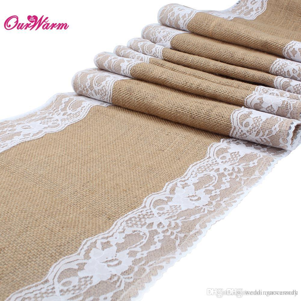 free dhl natural burlap table runner hessian vintage tablecloth cover with jute lace rose. Black Bedroom Furniture Sets. Home Design Ideas