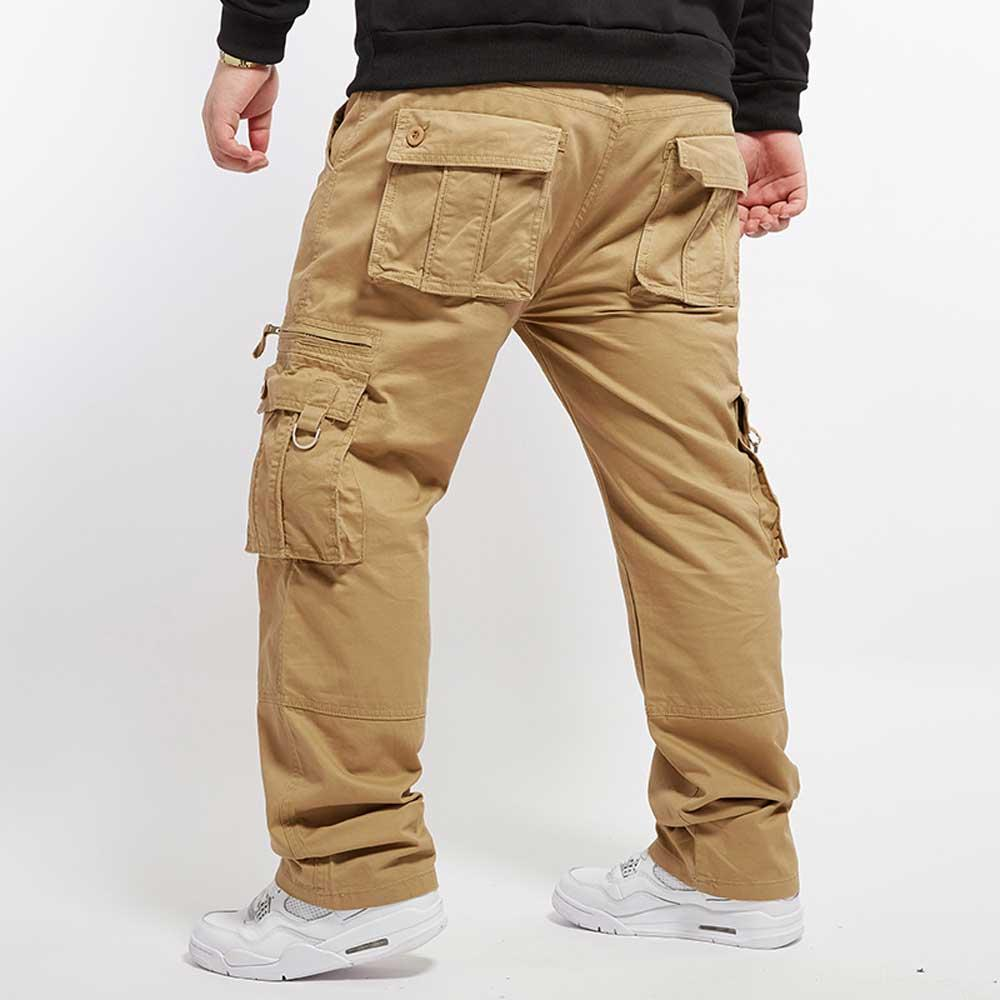2017 Men'S Plus Size Cargo Pants Khaki Multi Pockets Baggy Loose ...
