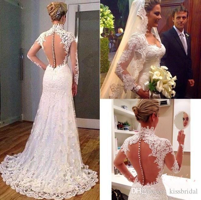 vintage 2016 lace mermaid wedding dresses high neck long sleeves see through back vestidos de noiva court train plus size bridal gowns long sleeves wedding