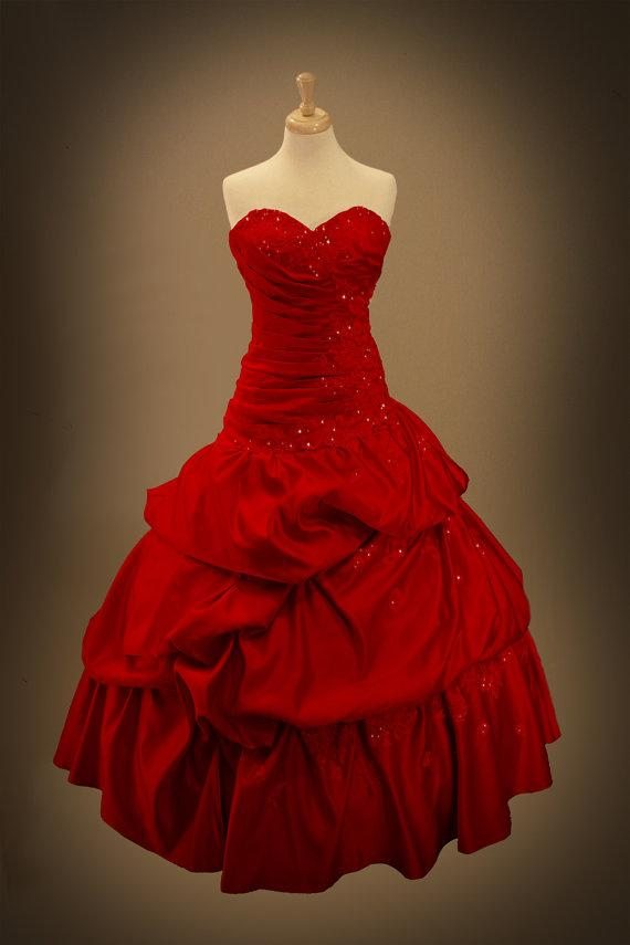 2016 latest romantic rose red gothic wedding dress ball for Red and black wedding dresses for sale