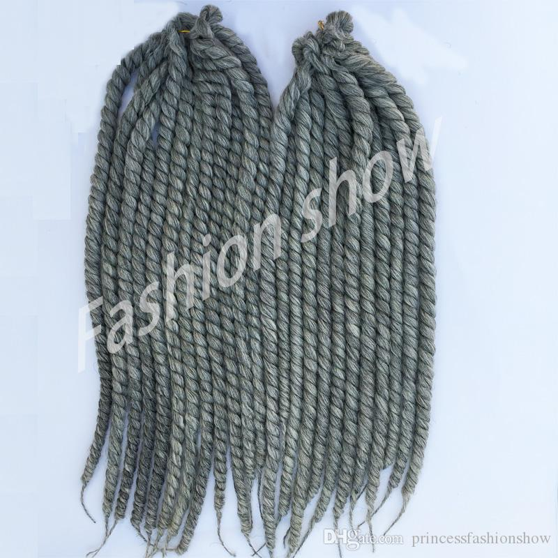 Crochet Hair Grey : Silver Havana mambo twist 22 130g/pack crochet braids hair gray Ombre ...
