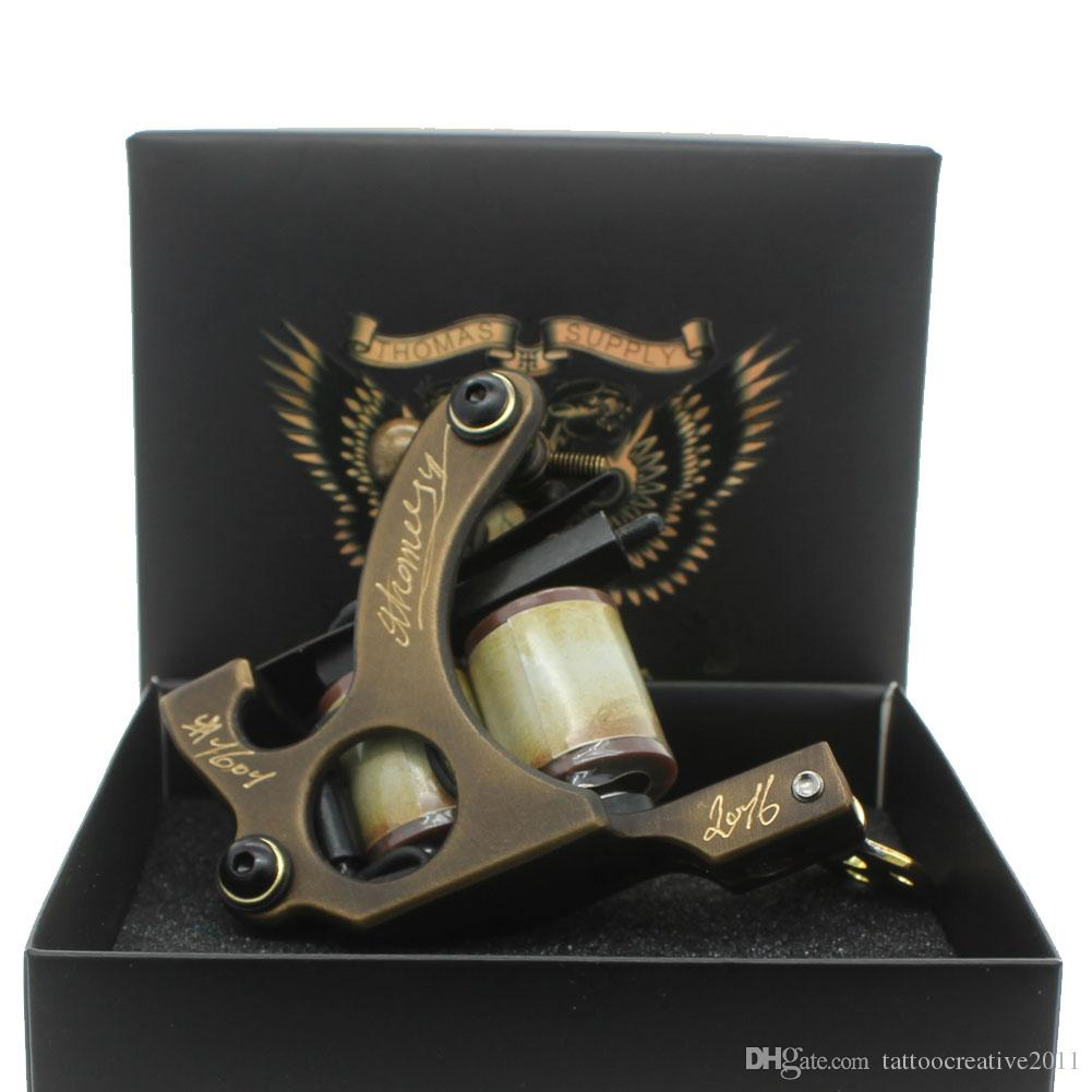 Tattoo machine gun carved brass wrap coils for shader