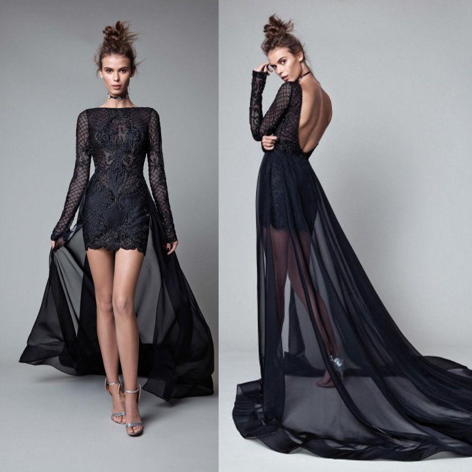 Berta 2017 Long Sleeves Evening Dresses With Detachable Train ...