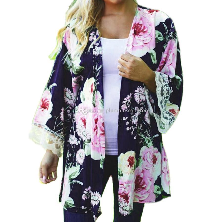 Women Kimono Cardigan Blouses Autumn Casual Floral Printed Open ...