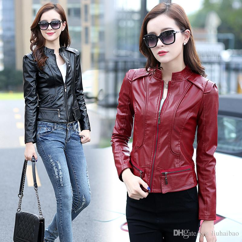 Discount Girl Short Black Leather Jacket | 2017 Girl Short Black