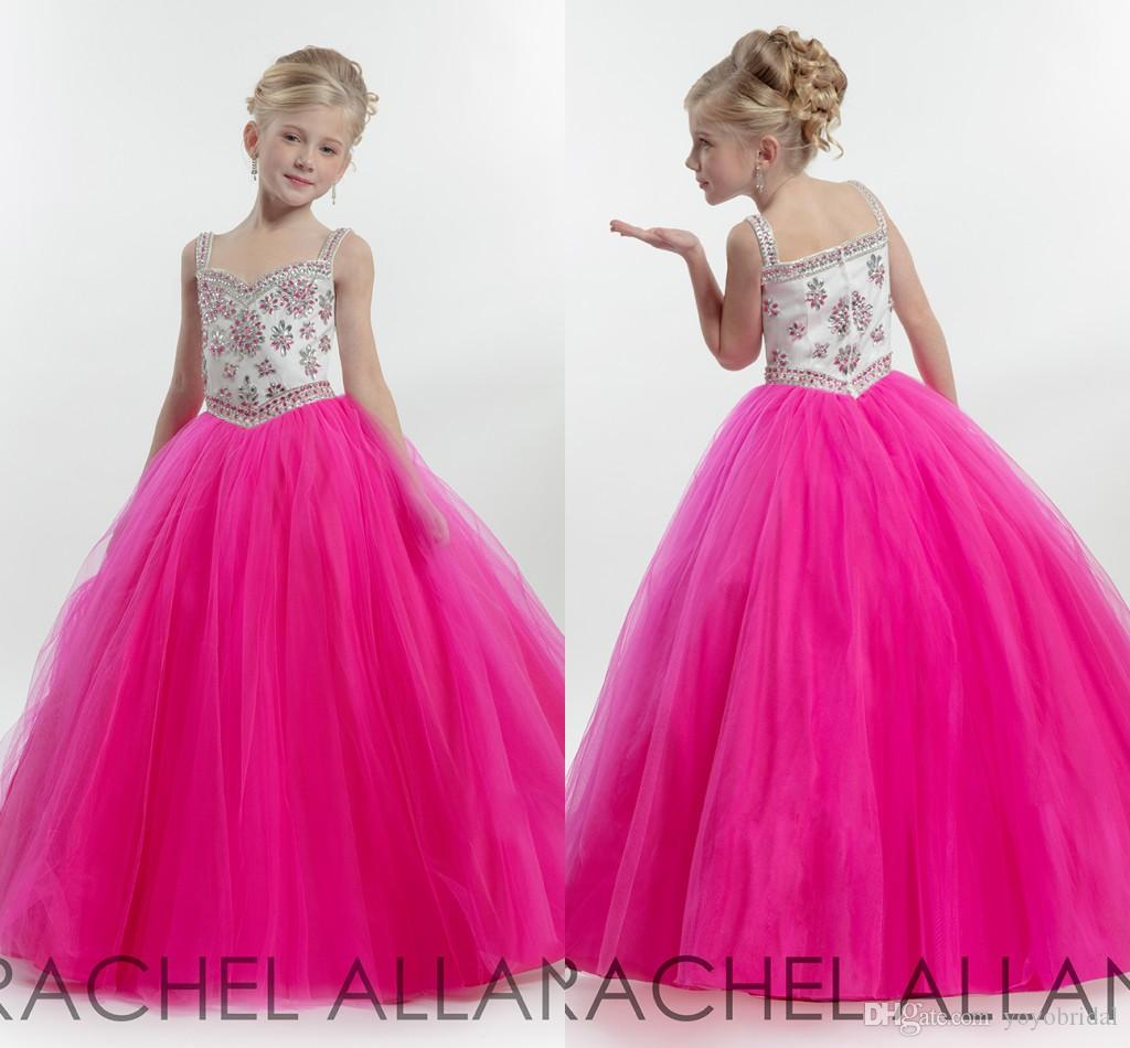 White Hot Pink Pageant Dresses 2016 Elegant A Line Tulle Open Back ...