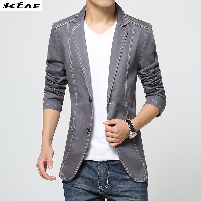 Wholesale- Denim Jean Blazers Men's Suit Jackets 2016 Slim Fit ...