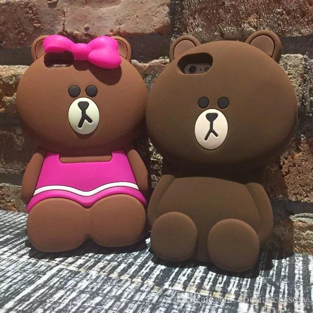 Luxury 3D Teddy Bear Silicone GEL Soft Case Iphone SE 5 5S 6 6S Plus 5.5 4.7 I6S Lovely Cartoon Bow Bowknot Rubber Cell phone Skin Cover