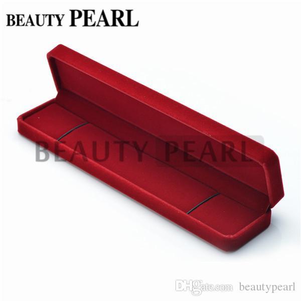 2017 rectangle red velvet gift box for necklace show case for Red velvet jewelry gift boxes