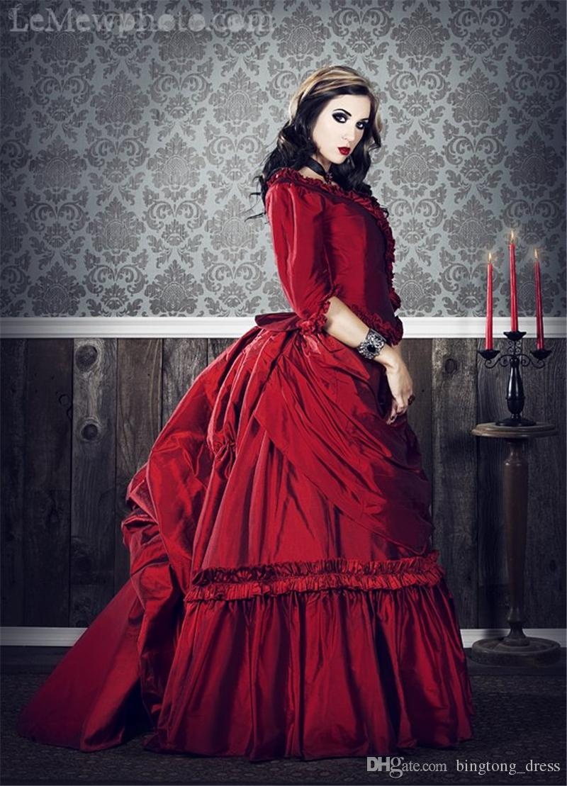 2016 vintage gothic wedding dresses ruffles a line red v for Halloween wedding dresses plus size