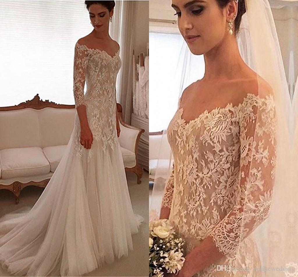 Vintage wedding dresses off shoulder three quarters for Vintage off the shoulder wedding dresses