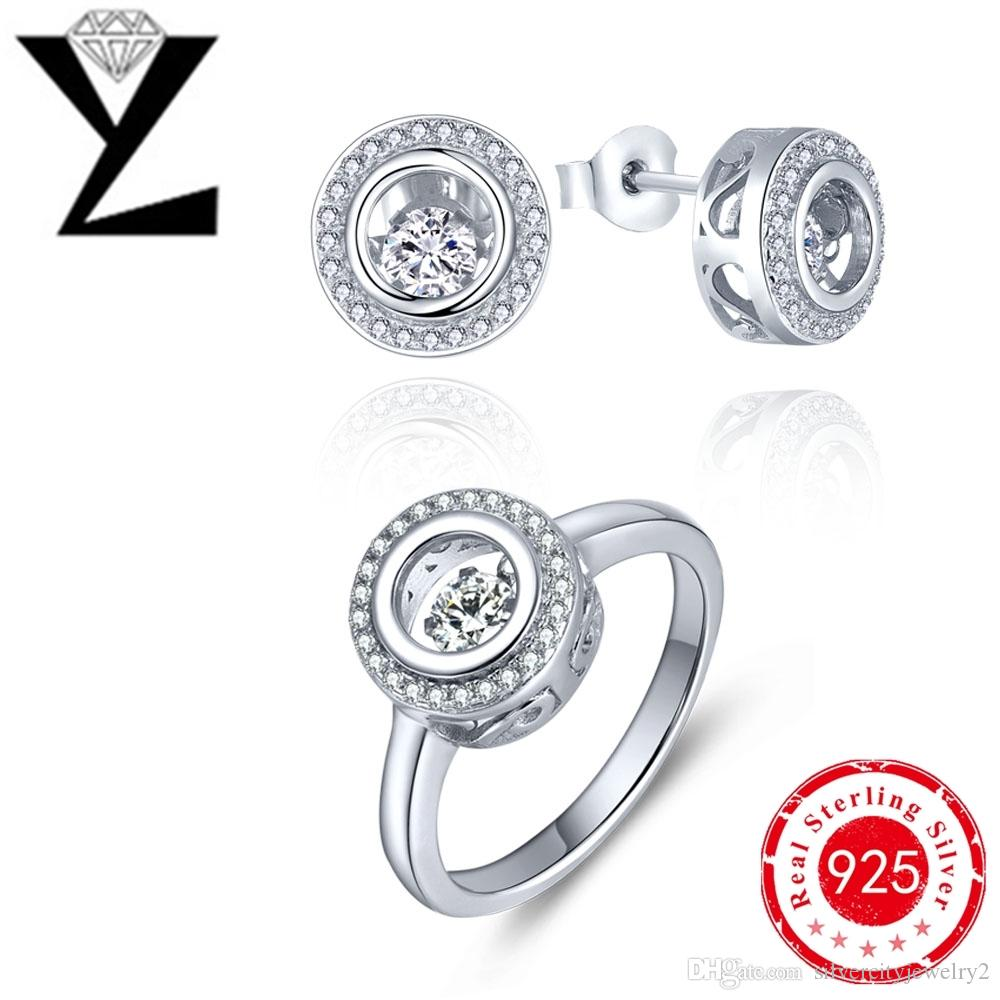 Ring  Jewelry Set Cubic Zirconia For Women White Gold Plated Jewelry Dancing  Diamond