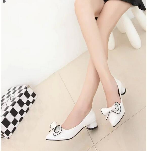 2017 Spring Womens Low Heel Leather Pointed Toe Shoes Woman High ...