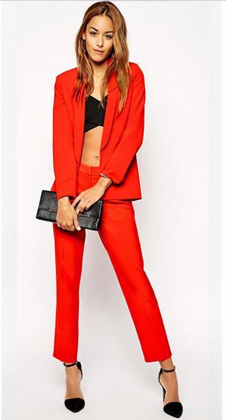 Custom Made Red Set Women Elegant Pants Suits Ladies Business Pant ...