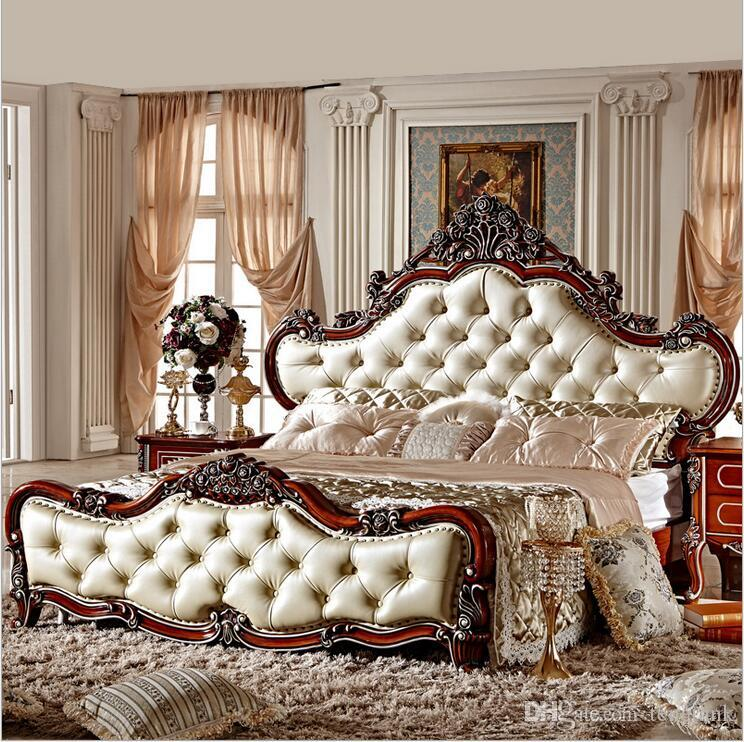Hot Selling Modern European Solid Wood Bed Fashion Carved 1 8 M Bed French Bedroom Furniture