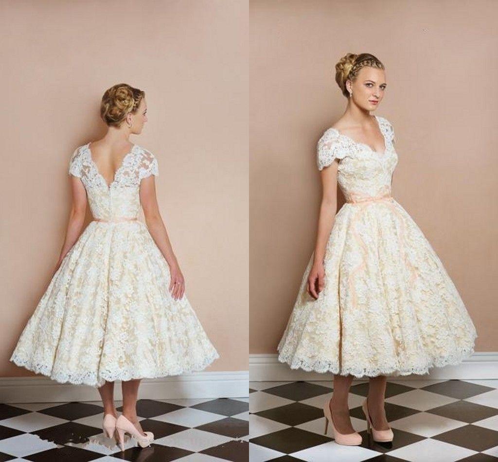 Discount 2016 50s Style Retro Vintage Wedding Dresses Full