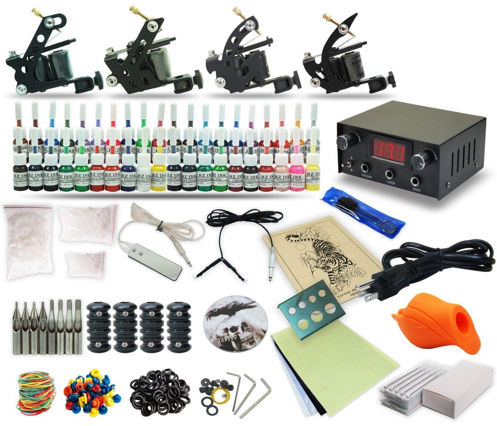 Pro tattoo kit 4 machine gun power supply foot pedal ink for Best tattoo power supply