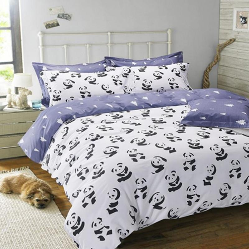 Black And White Bedding Set Panda 100 Cotton Bed Sheet