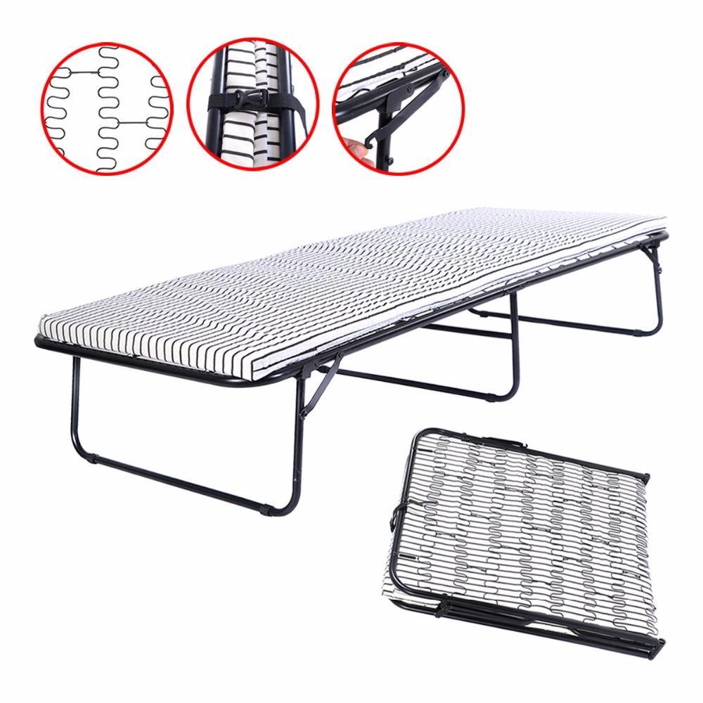 Folding Metal Guest Bed Spring Steel Frame Mattress Cot Sleep