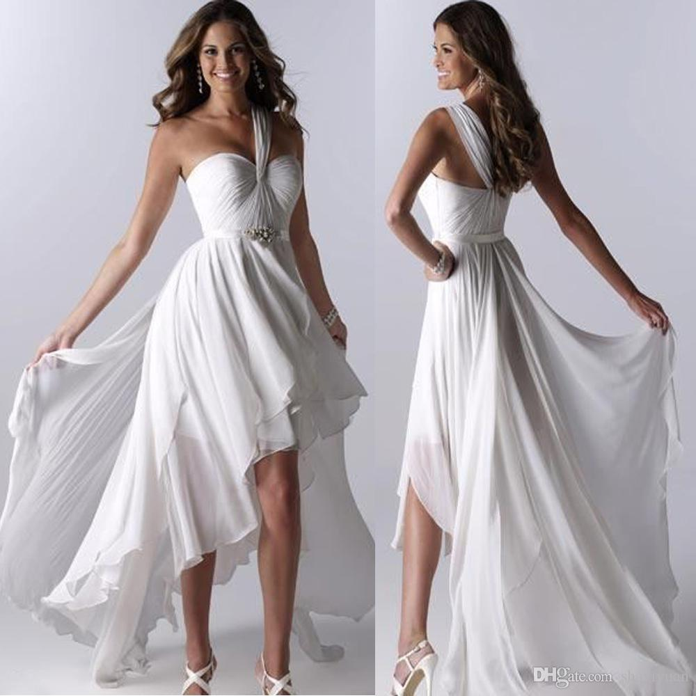 Cheap beach wedding dresses 2016 high low one shoulder Inexpensive beach wedding dresses