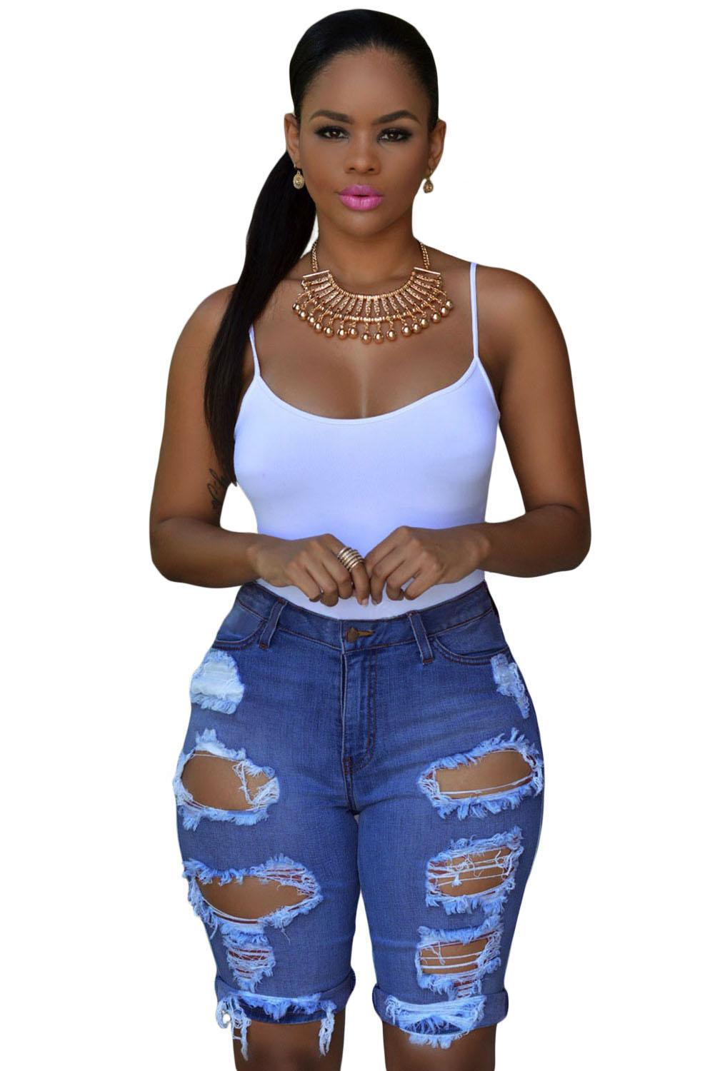Summer Blue White Black Denim Destroyed Bermuda Shorts Women ...