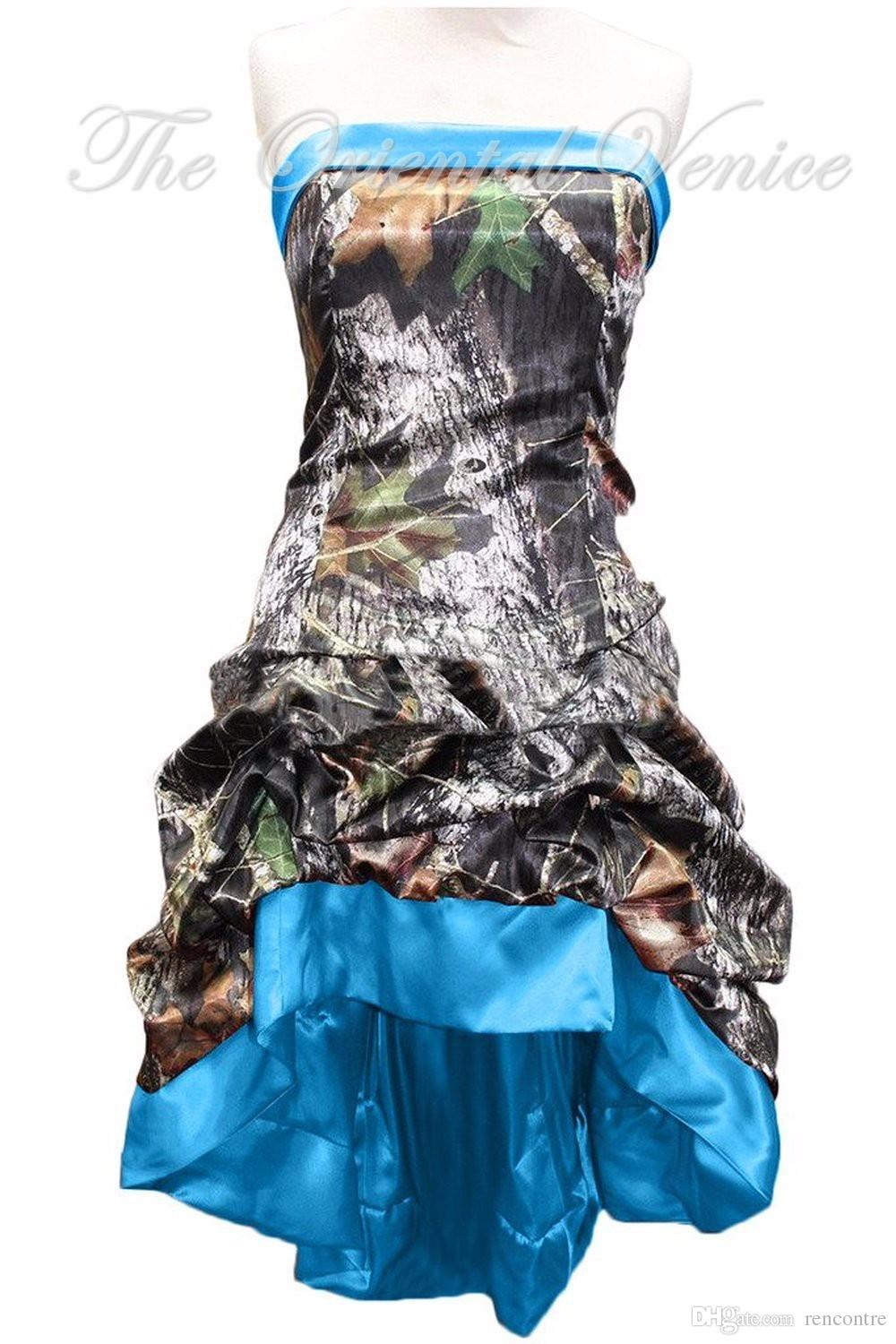 Vintage Blue Realtree Camouflage Bridesmaid Dresses High
