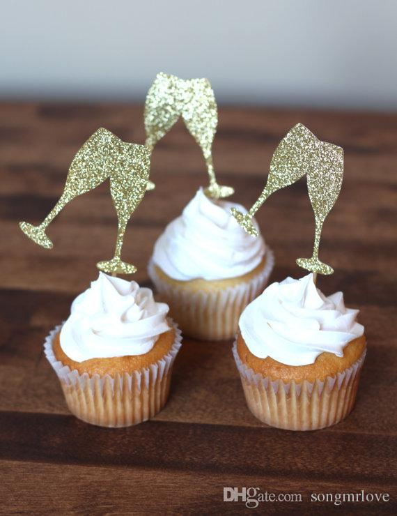 Cheap gold glitter champagne glass cupcake toppers bridal shower cheap gold glitter champagne glass cupcake toppers bridal shower birthday parisian theme party decorations foodpicks cheap birthday wedding cupcake toppers junglespirit Image collections