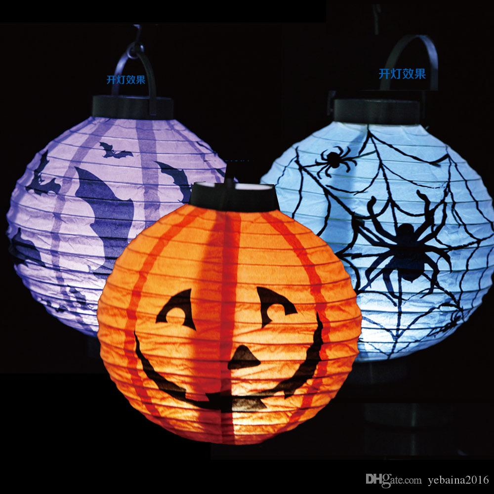 Halloween Pumpkin Lights Lamp Halloween Paper Lantern Spiders Bats ...