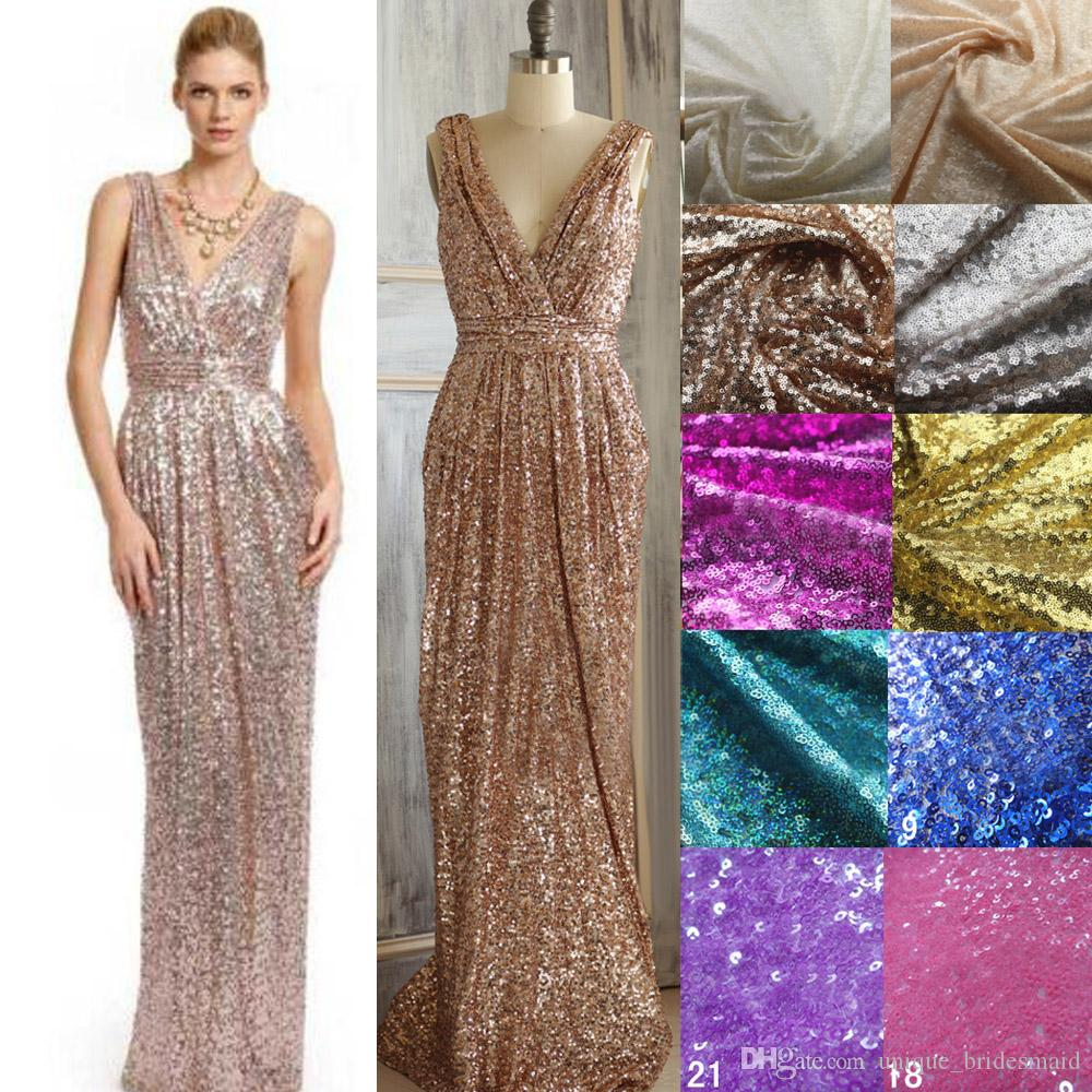 Sparkly rose gold cheap 2016 bridesmaid dresses sequins for Sparkly beach wedding dresses