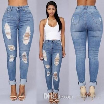 New Designer High Waisted Jeans Bodycon Denim Stretch Jean Destroy ...