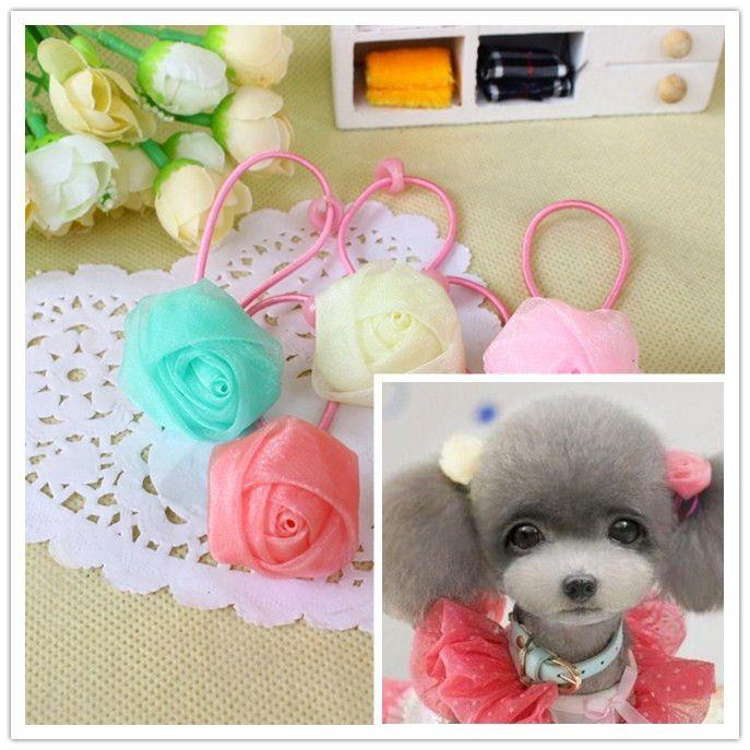 Pet Hair Band Accessories Rose Hair Rope Elastic Dog Hair Color ...