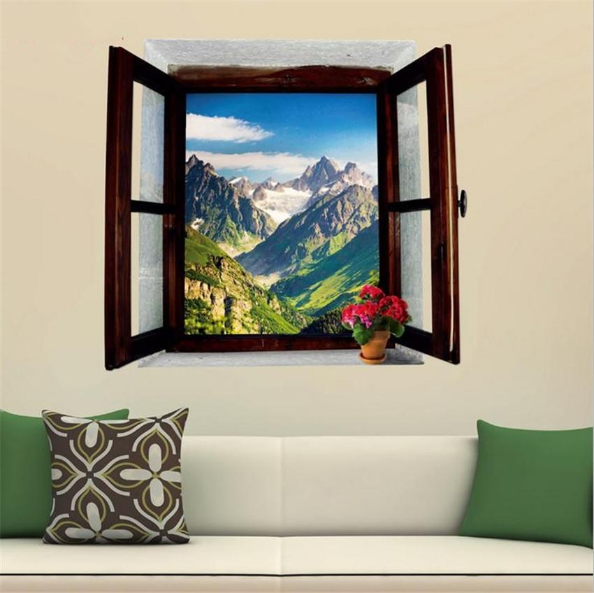 3d view window landscape painting snowy mountains home for 3d wall mural painting
