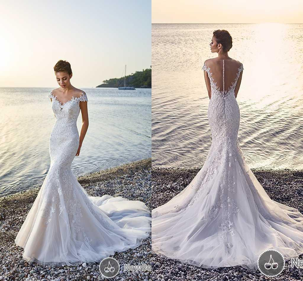 Wedding Dress Lace Italian : Eddy k italian sheer jewel neck mermaid bridal gown illusion back lace