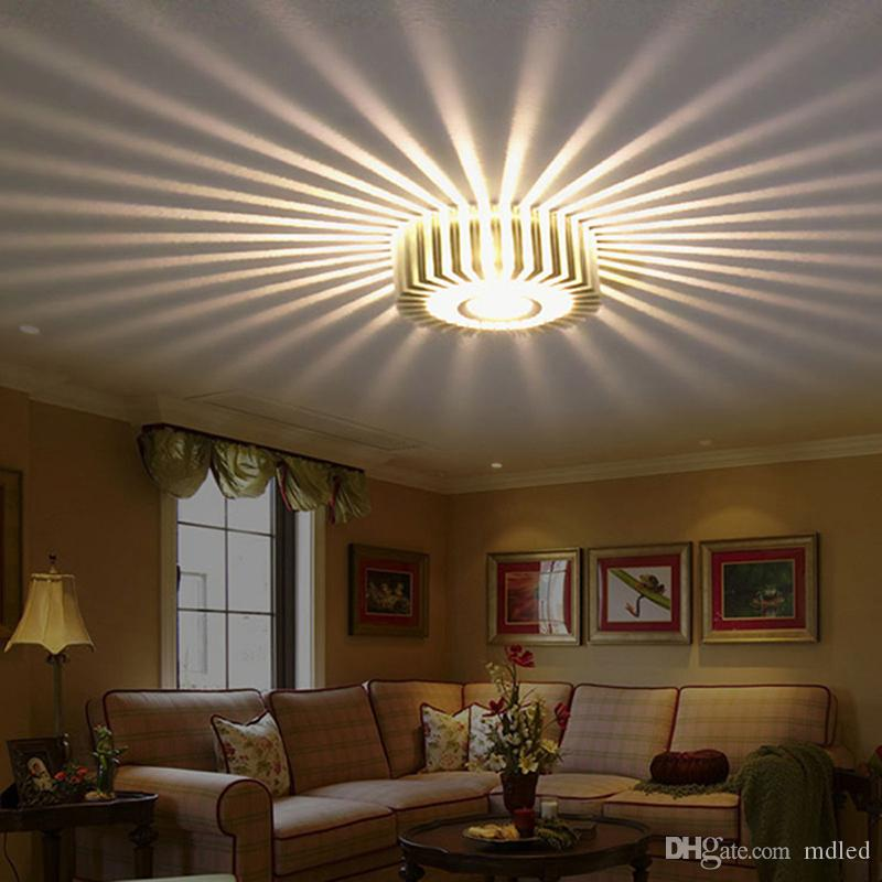 2017 3w Silver Led Wall Lamps Porch Decor Sun Flower Lamp