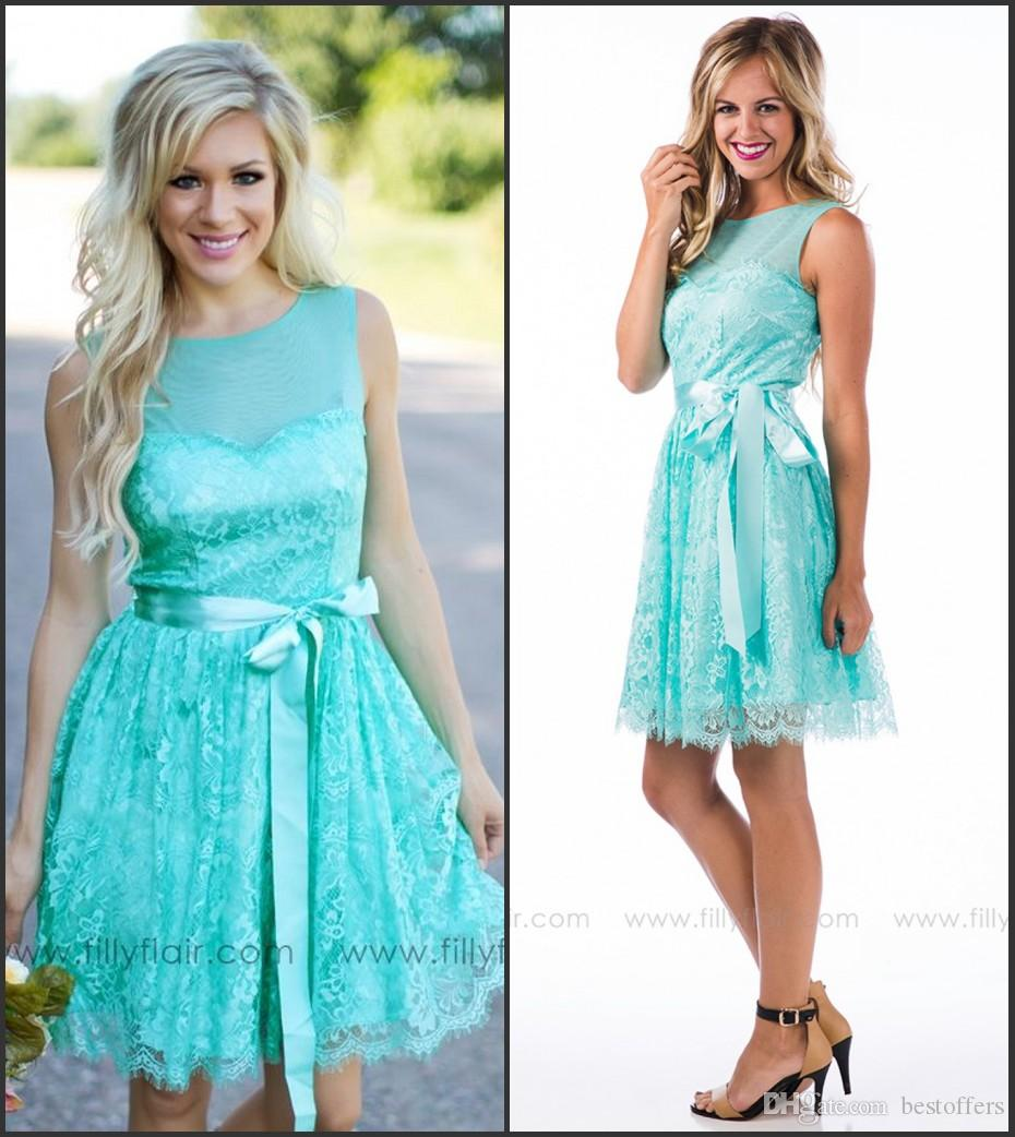 Turquoise short bridesmaid dresses 2016 jewel neck a line for Turquoise wedding guest dress