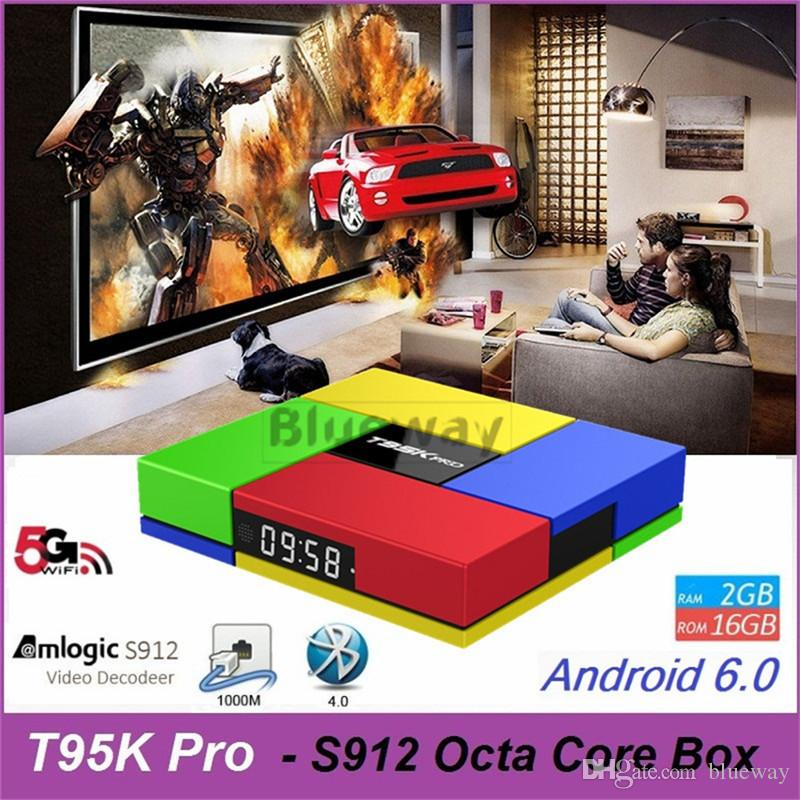 T95K pro Amlogic S912 Android TV Box 2 Go 16 Go 4K Ultra HD 1000M Lan BT 5G WiFi