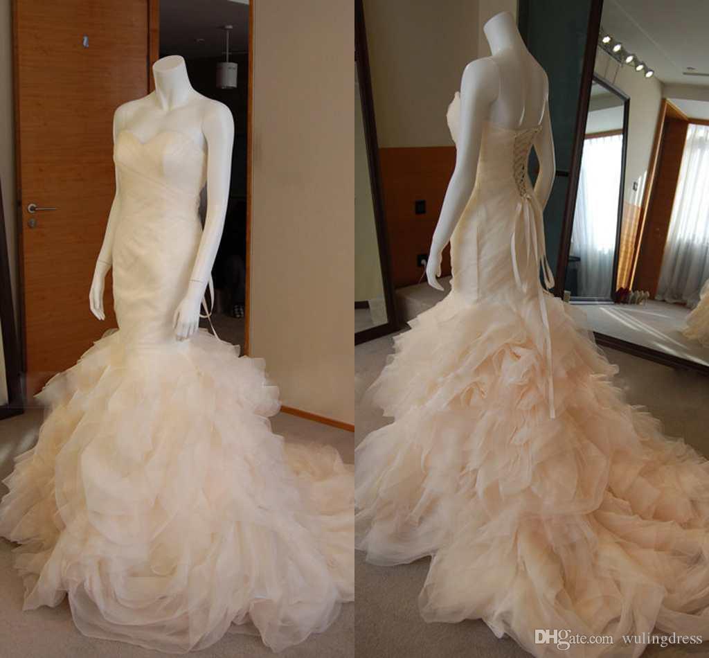 Charming Pleats Ruffles Mermaid Wedding Dresses 2016