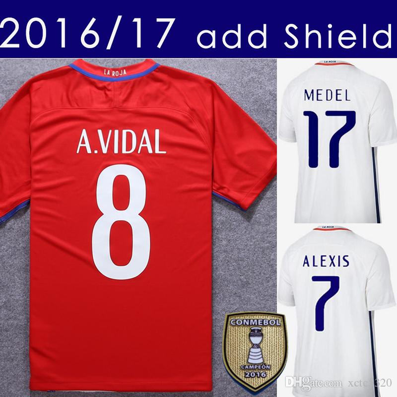 2017 Chili Soccer Jersey 2016/17 Alexis Vidal Accueil Rouge Away blanc Football