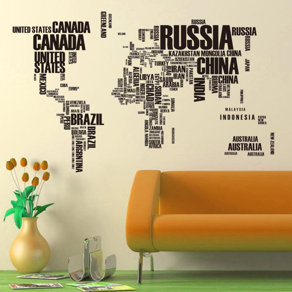 World Map Home Decor Creative Multicolor Words World Map Vinyl Office Home Decor Wall