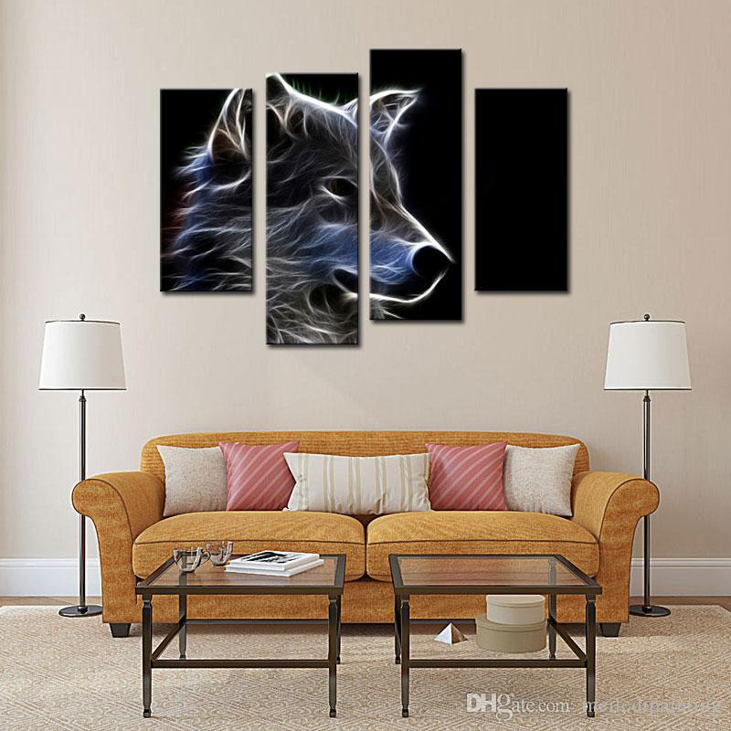Wolf Wall Art 4 picture combination grey wolf wall art painting pictures print
