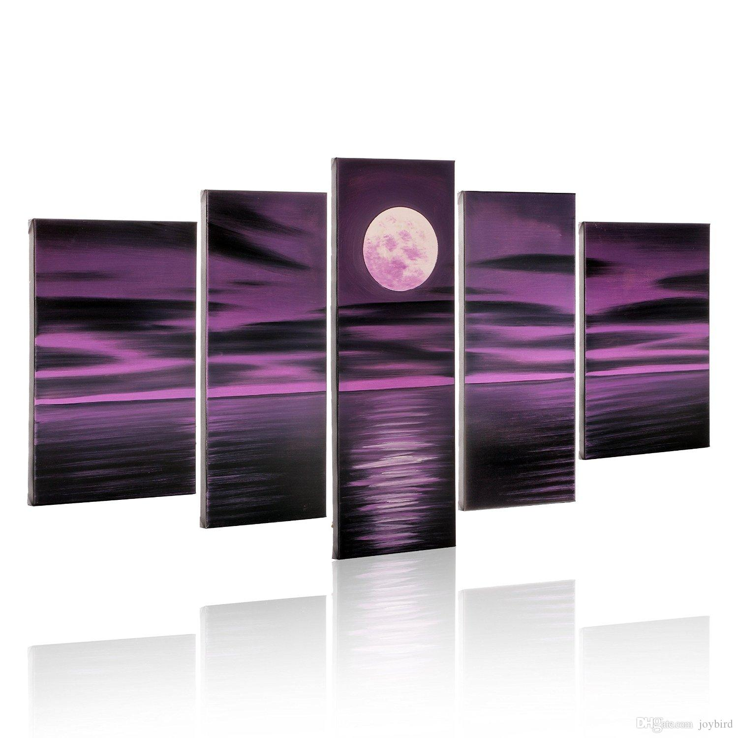 Purple Canvas Wall Art hand paint seascape painting 5 panel bright full moon purple