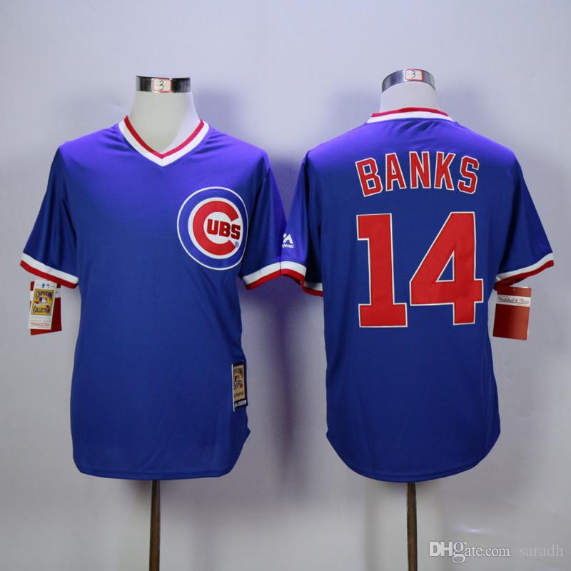 2017 Mlb Chicago Cubs #14 Banks New Men'S Baseball Jerseys ...