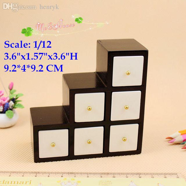 Wholesale-1/12 Scale Dollhouse miniature Wood furniture black and white  brief ladder cabinet