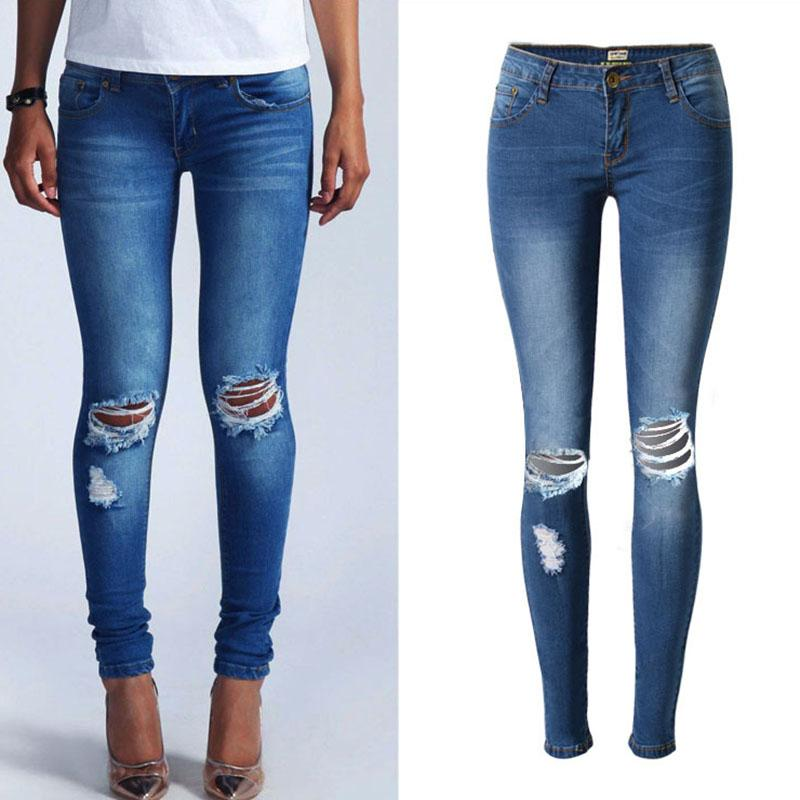2017 New Fashion Blue Low Waist Ripped Jeans For Women Washed ...