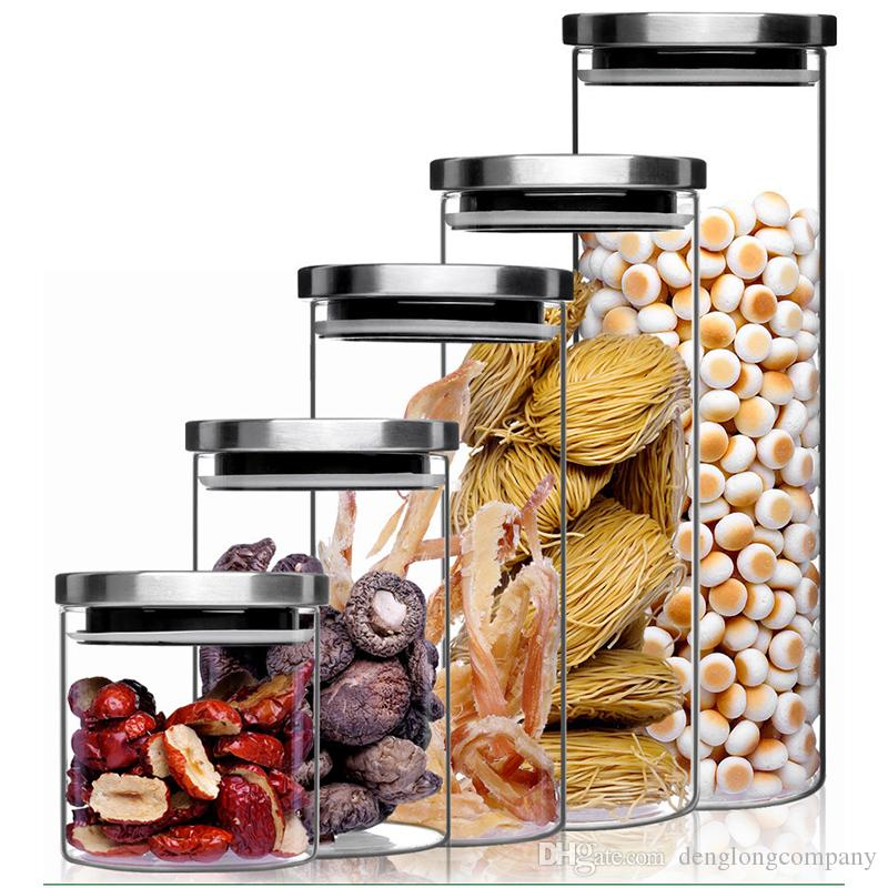 Spin Lock Airtight Canisters Round Transparent High Borosilicate Glass  Container Food Storage Jars For Sugar Rice Flour Nuts Pasta Food Storage Jar  Glass ...