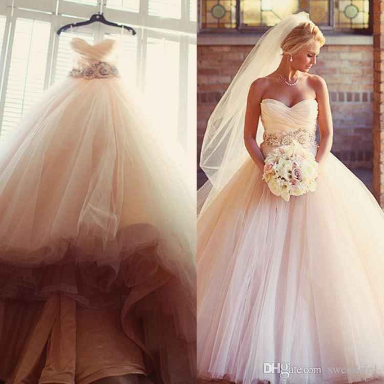 Discount Modest Blush Pink Wedding Dresses 2016 Tulle