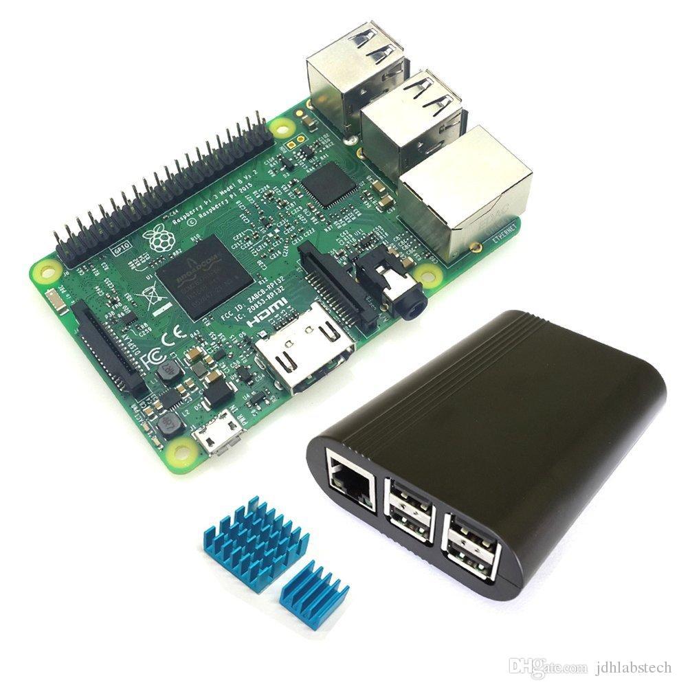 Raspberry Pi 3 Base Ki 1.2GB (New ABS Black Case Heatsinks) internal BT WiFi