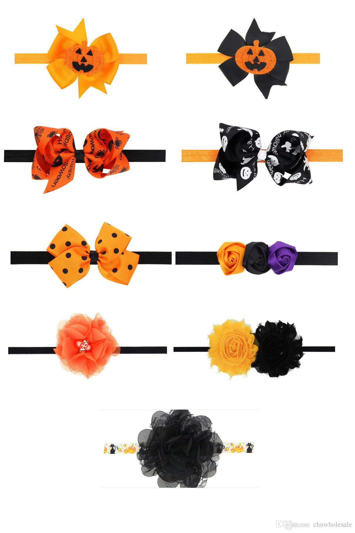 Be best hair accessories for baby - 2016 Baby Girls Princess Halloween Pumpkin Bow Headbands Newborn Infant Rhinestone Hair Bands Hair Accessories 9