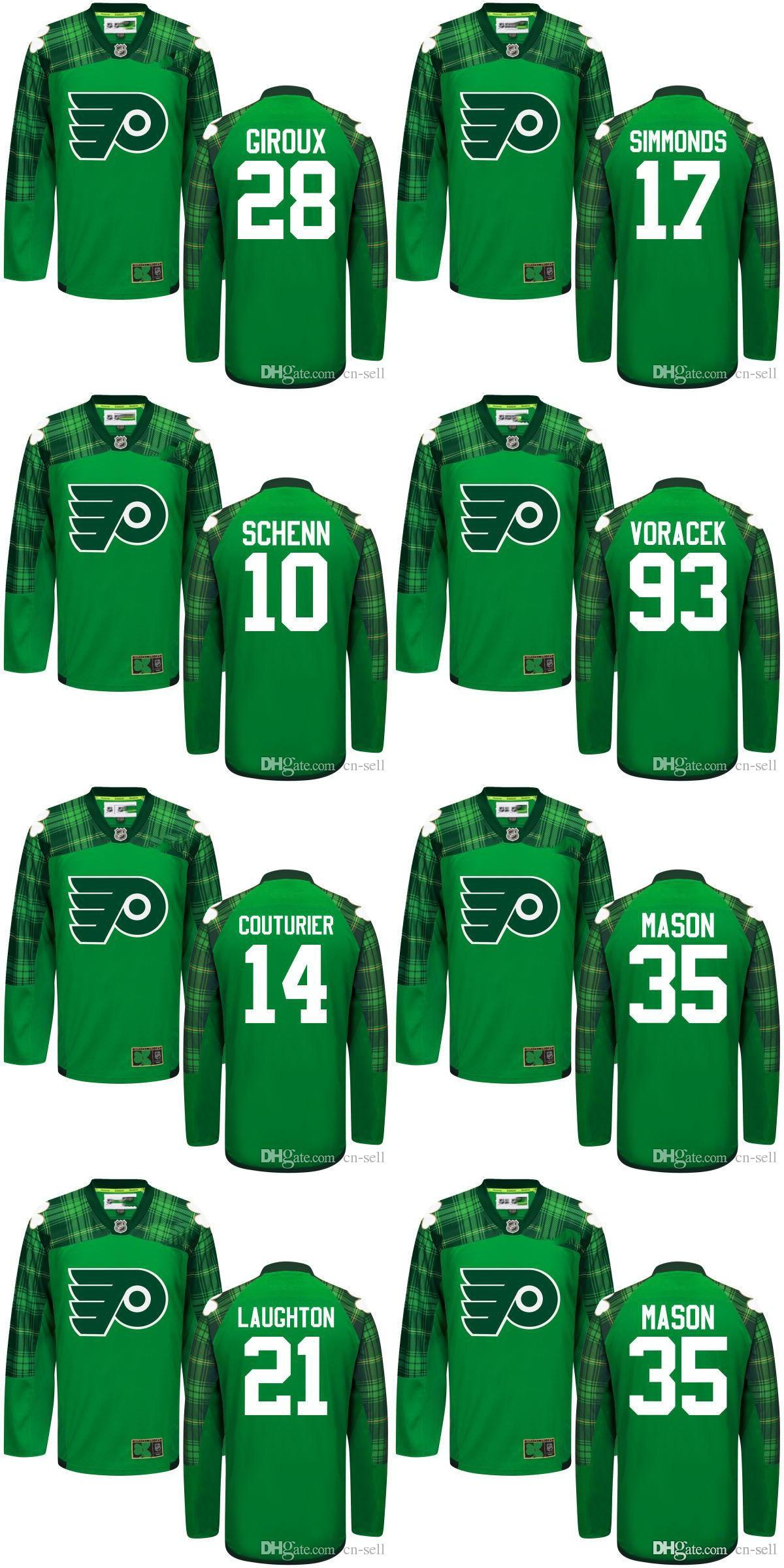 ... St. Patricks Day Green Jersey 2016 Men Philadelphia Flyers 14 Couturier  93 Voracek 10 Schenn 17 Simmonds 21 Laughton 28 Giroux ... 462086bc4