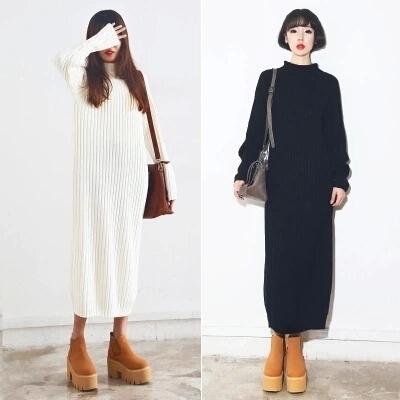 Korean Stylenanda Black White Turtleneck Sweater Dress Slim Fit ...